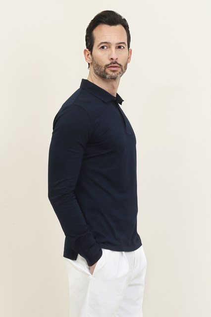 Ballantyne Long sleeve blue Makò polo
