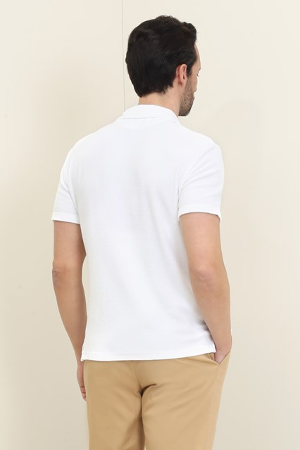Ballantyne Optic white knit fabric sponge effect polo