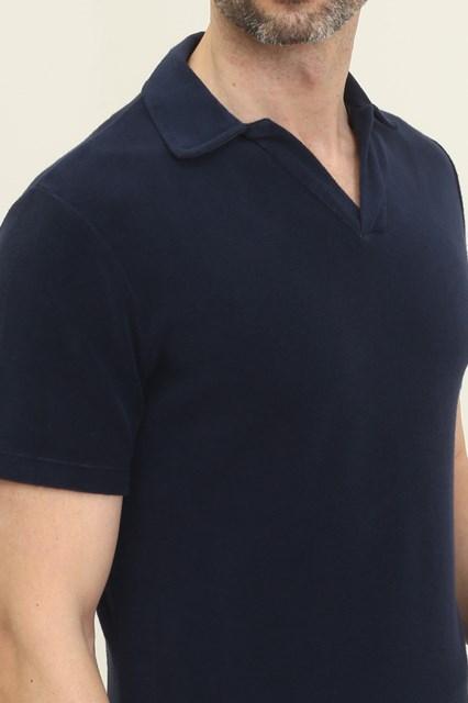 Ballantyne Dark blue knit fabric sponge effect polo