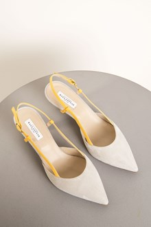 Ballantyne Pumps in suede bicolor grigia e gialla