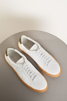 Ballantyne White and military green leather sneakers