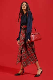 Ballantyne TARTAN PANEL SKIRT IN RED