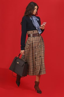 Ballantyne WIDE CHECK SKIRT IN BEIGE AND BLUE