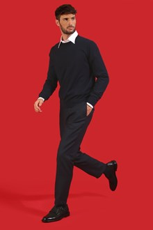 Ballantyne Pantalone color nero navy con pinces