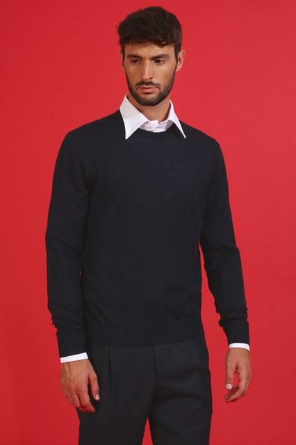 Ballantyne Pullover in lana merinos leggera color Nero Navy