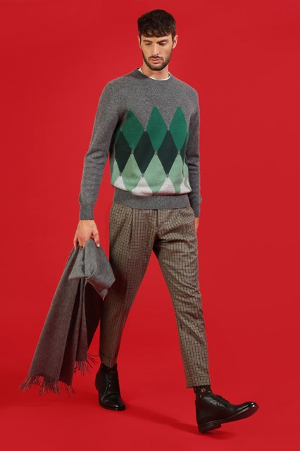 Ballantyne Pullover New Classic Diamond grigio e verde