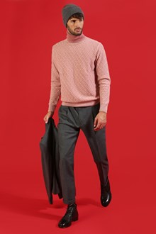 Ballantyne Turtleneck with diamond intarsia and dye in pink
