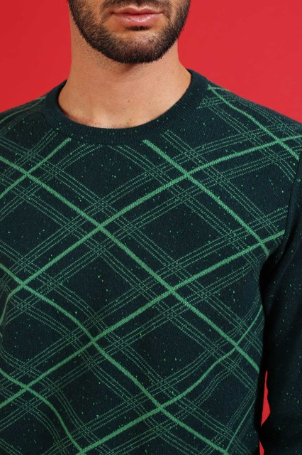 Ballantyne Pullover tartan tweed verde