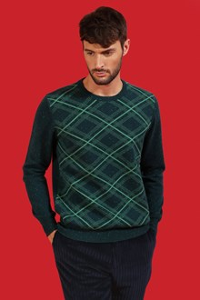 Ballantyne Tweed tartan pullover in green