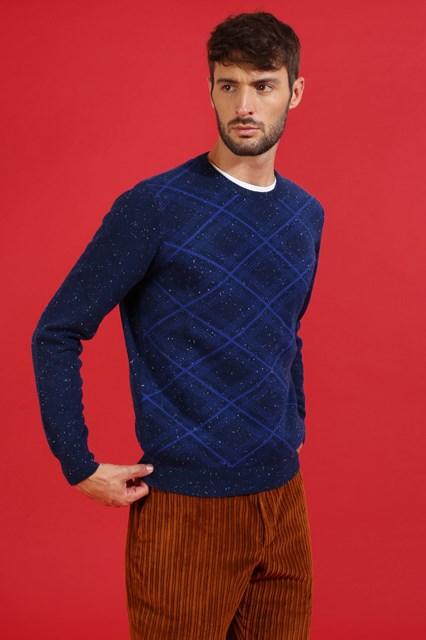 Ballantyne Pullover tartan tweed blu
