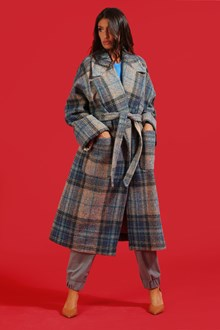 Ballantyne Check wool wrap coat