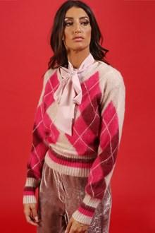 Ballantyne Pink mohair pullover with argyle intarsia