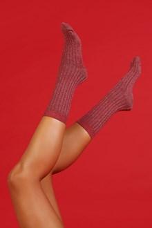 Ballantyne Red lurex woman socks