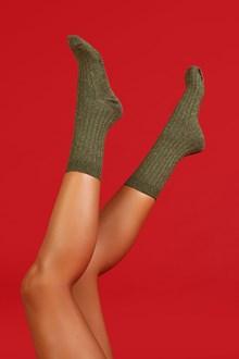 Ballantyne Military green lurex woman socks