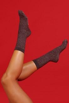 Ballantyne Bronze lurex woman socks