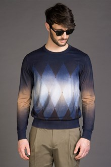 Ballantyne SPLASHED DIAMOND SWEATER IN COTTON AND CASHMERE