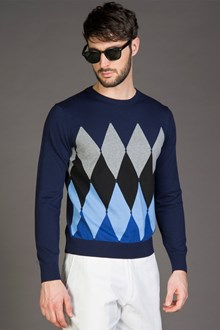 Ballantyne NEW DIAMOND SWEATER IN COTTON AND CASHMERE