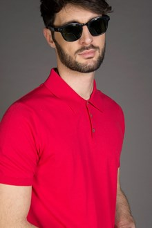Ballantyne ULTRALIGHT COTTON KNITTED POLO SHIRT IN RED FIRE