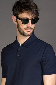 Ballantyne ULTRALIGHT COTTON KNITTED POLO SHIRT IN NAVY BLACK