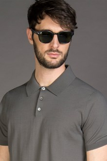 Ballantyne ULTRALIGHT COTTON KNITTED POLO SHIRT IN GREY