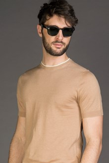 Ballantyne LINEN AND COTTON KNITTED T-SHIRT
