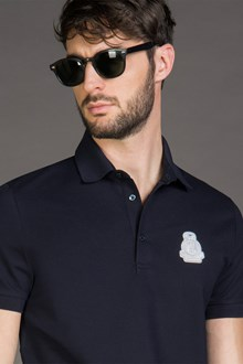 Ballantyne POLO IN PIQUET DI COTONE CON PATCH NERO NAVY