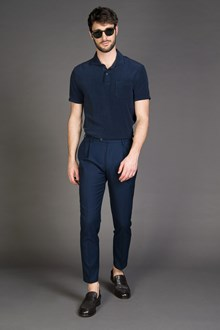 Ballantyne BLACK NAVY TEXTURED SLIM FIT TROUSERS WITH DARTS