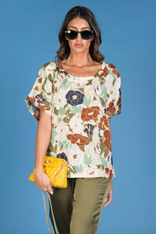 Ballantyne SILK AND COTTON HABOTAI OVER T-SHIRT WITH FLORAL PRINT