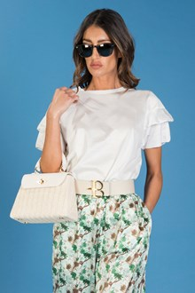 Ballantyne SANFOR COTTON T-SHIRT WITH RUFFLED SLEEVES