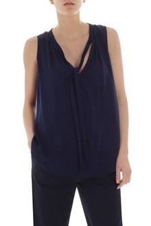 Ballantyne Blue flared crepe silk top