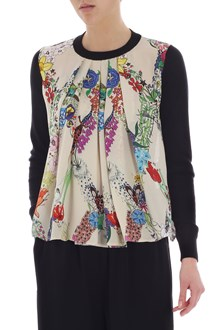 Ballantyne Floral printed and perforated-back pullover