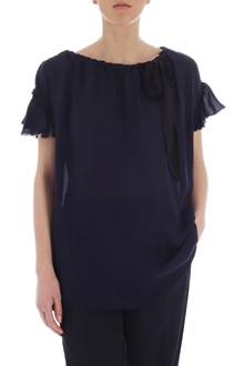 Ballantyne Top in seta blu