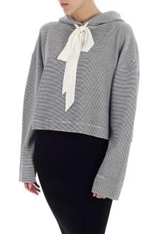 Ballantyne White and blue crop striped sweatshirt
