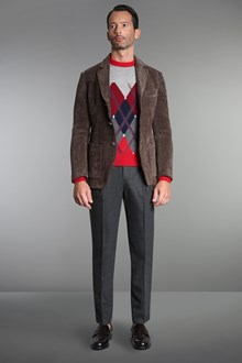 Ballantyne Red cashmere pullover with diamond inlay