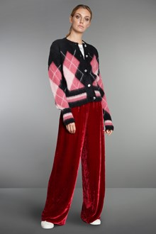 Ballantyne Black mohair cardigan with argyle inlay