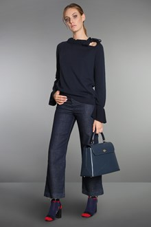 Ballantyne Black virgin wool blouse with gathered collar