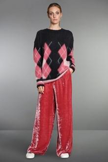Ballantyne Pink silk velvet straight trousers