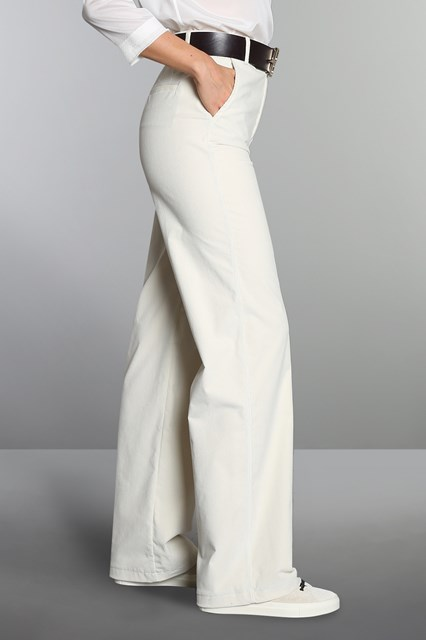 Ballantyne Pantalone a palazzo in velluto bianco