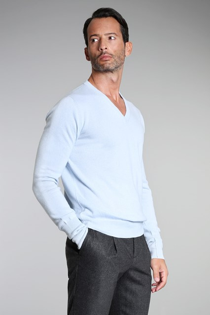 Ballantyne Light blue cashmere pullover