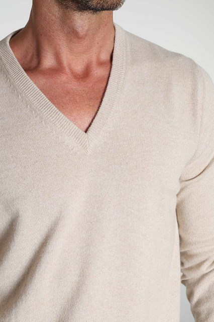 Ballantyne Beige melange cashmere sweater