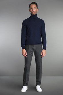 Ballantyne Navy black herringbone turtleneck