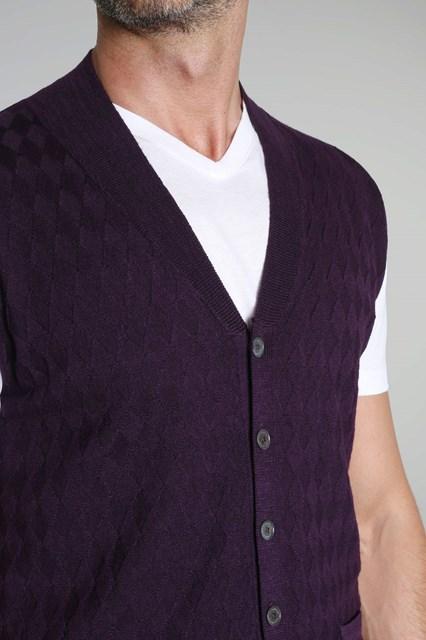 Ballantyne Diamond stitching purple vest