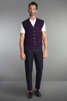 Ballantyne Diamond stitching purple vest