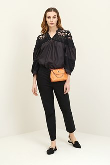 Ballantyne Black cotton blouse with crochet inserts