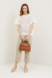 Ballantyne White jacquard lace sweater