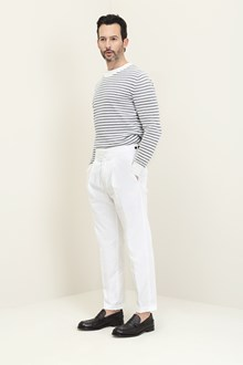 Ballantyne Striped bouclé crew-neck pullover