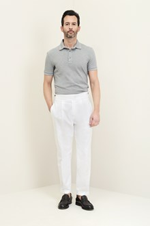 Ballantyne Gray and white cotton polo