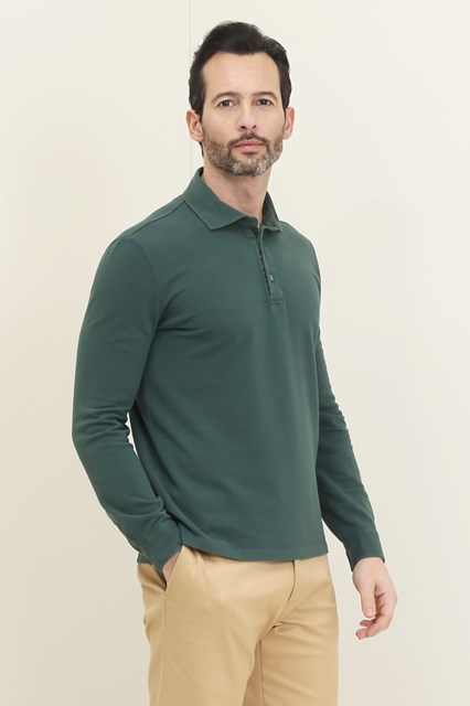Ballantyne Green long sleeve pique polo