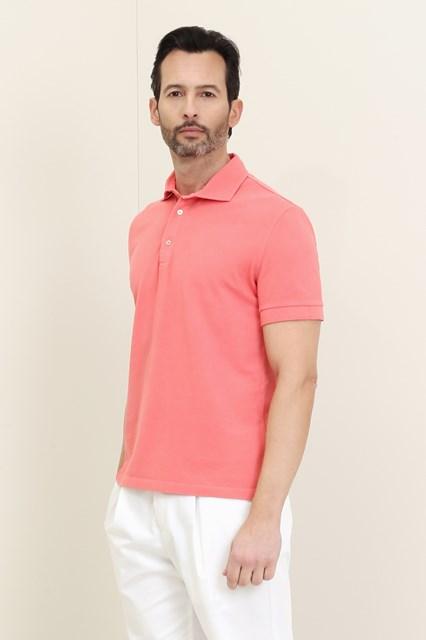Ballantyne Short-sleeved polo in pink piquet