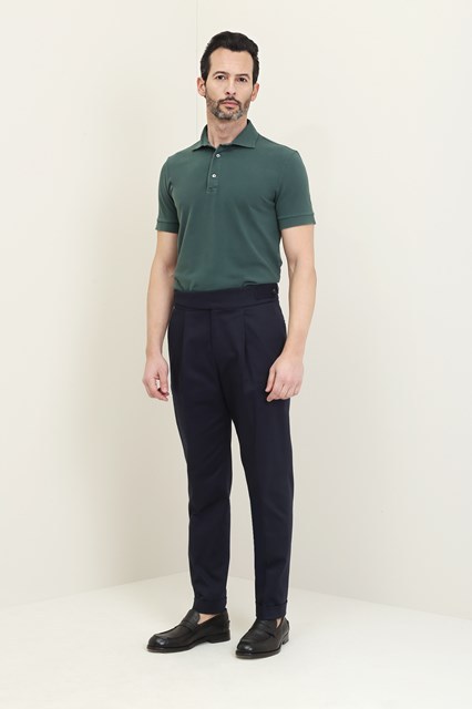 Ballantyne Short-sleeved polo in green piquet